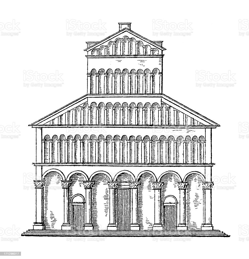 The Duomo of Pisa, Italy   Antique Architectural Illustrations royalty-free stock vector art
