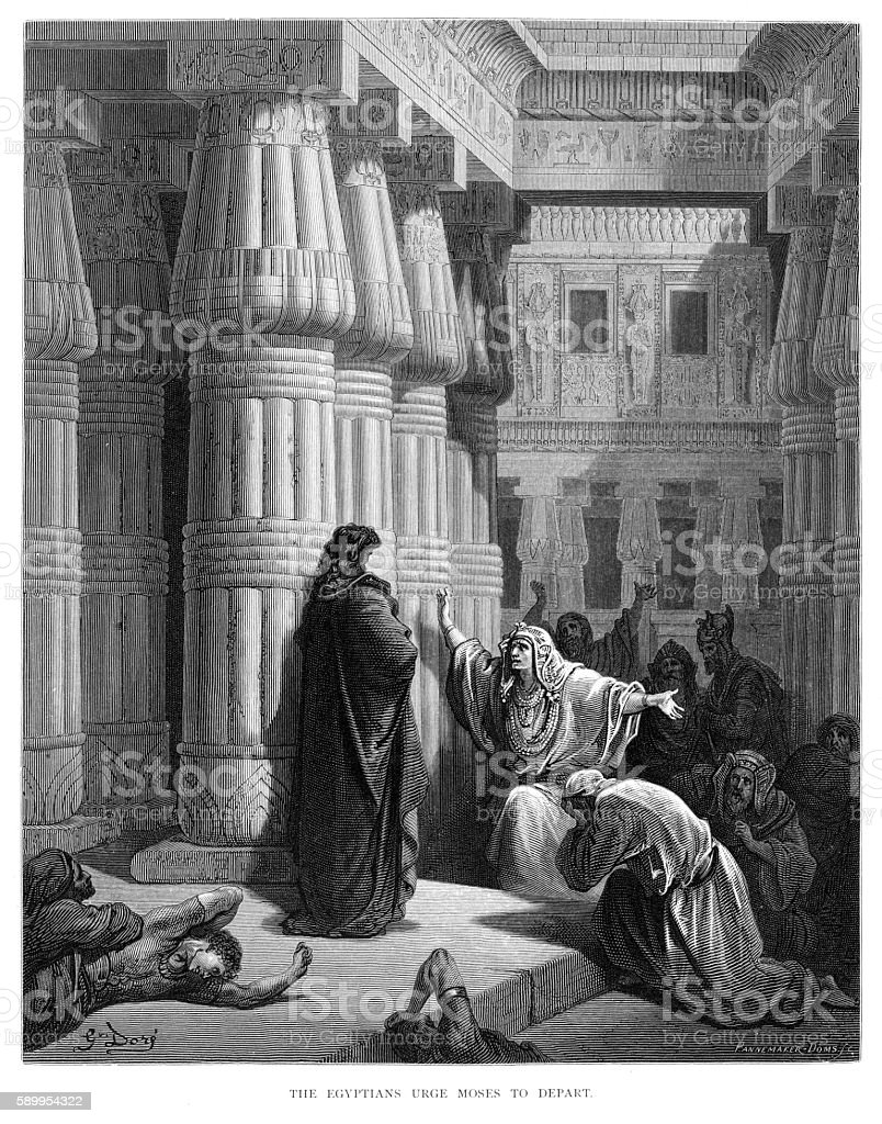 The egyptians urge Moses to depart engraving 1870 vector art illustration