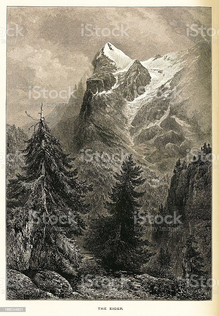 The Eiger, Switzerland (antique wood engraving) vector art illustration
