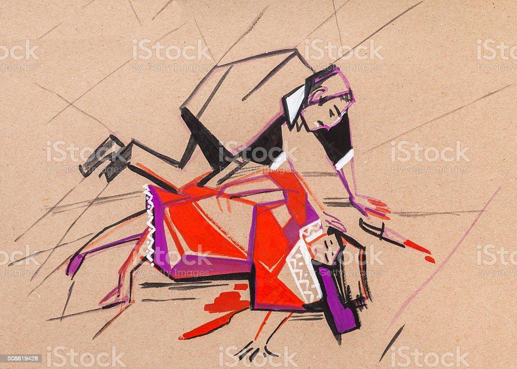 The ending of an opera of Carmen. vector art illustration