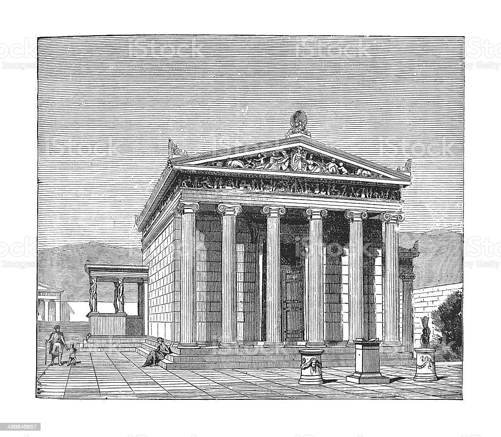 The Erechtheion (antique engraving) vector art illustration