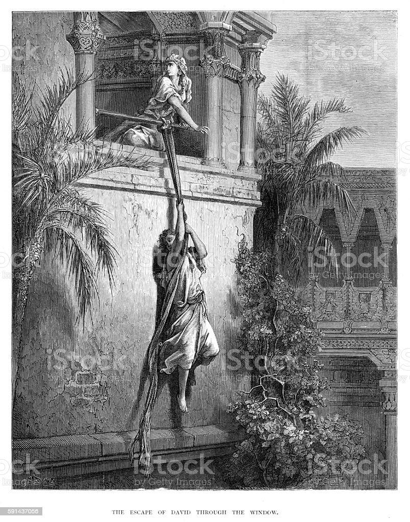 The escape of David engraving 1870 vector art illustration