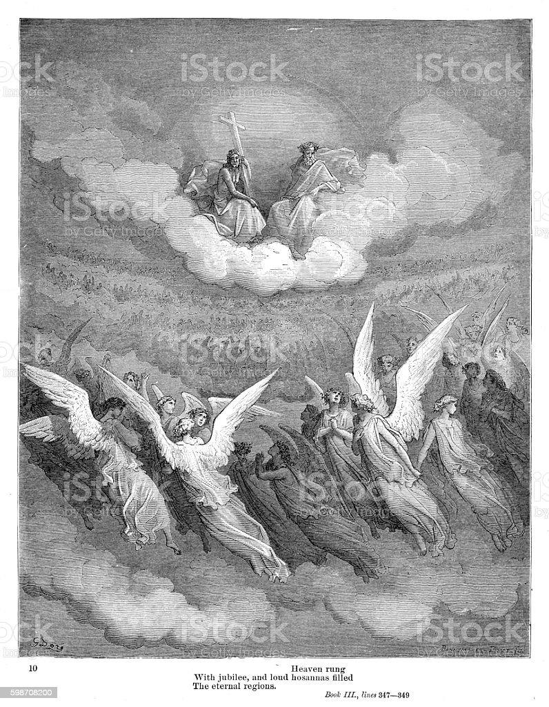 The eternal regions 1885 vector art illustration