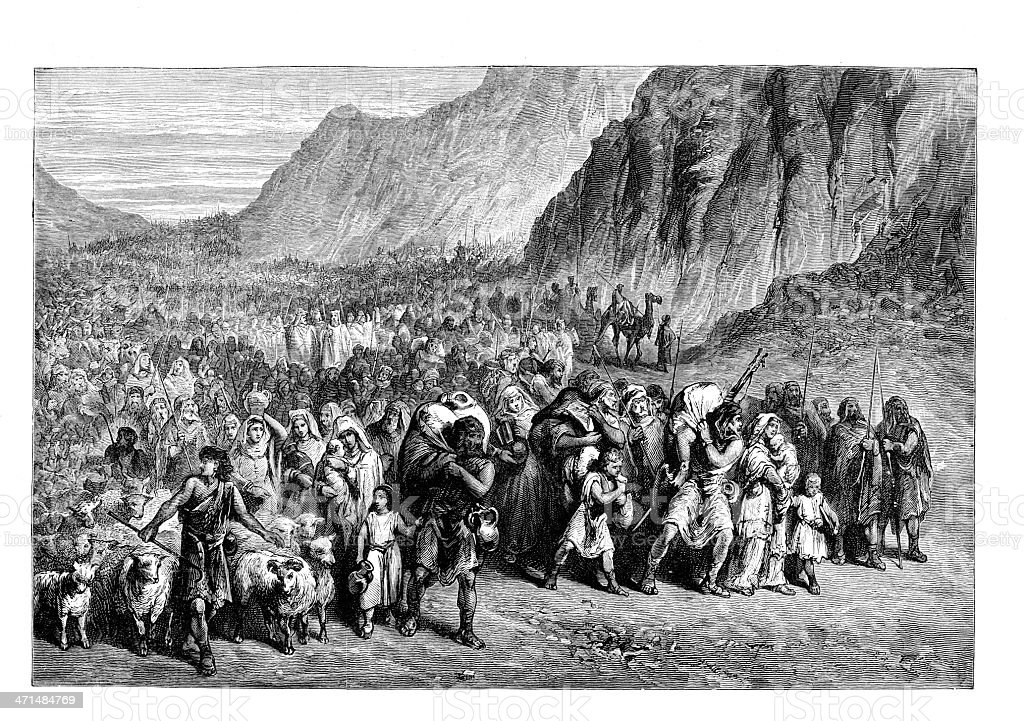The Exodus bible story  from 1880 journal vector art illustration