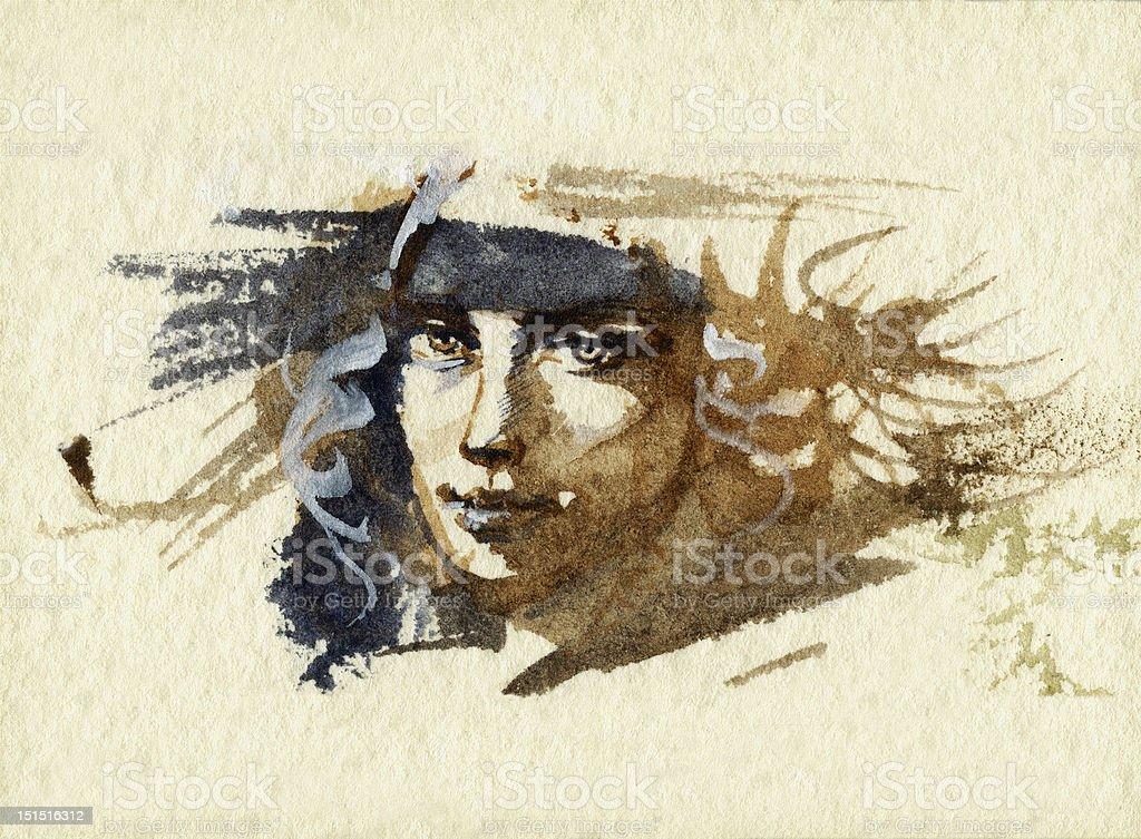 The face vector art illustration