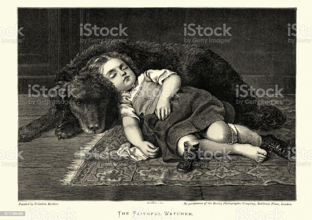 The Faithful Watcher, Pet dog guarding a sleeping girl vector art illustration