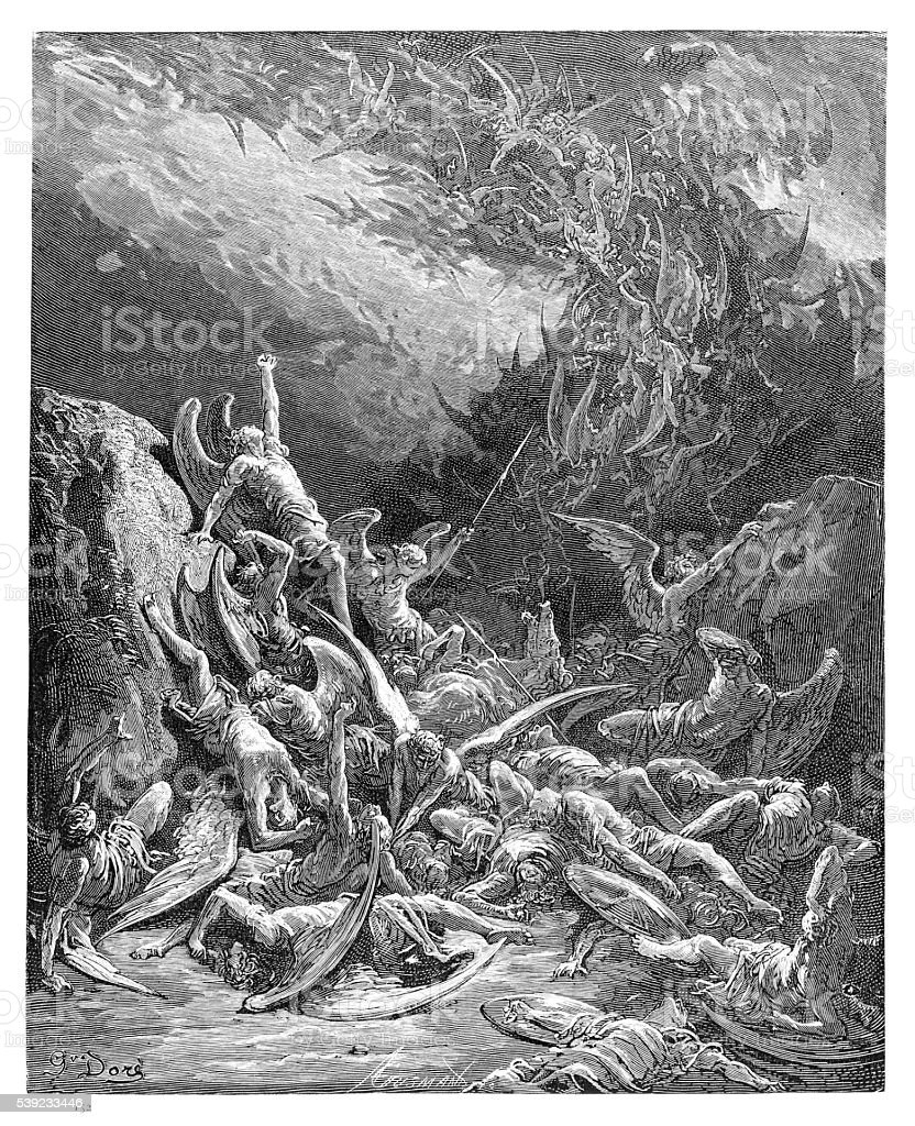 The fall of the rebel angels engraving 1885 vector art illustration