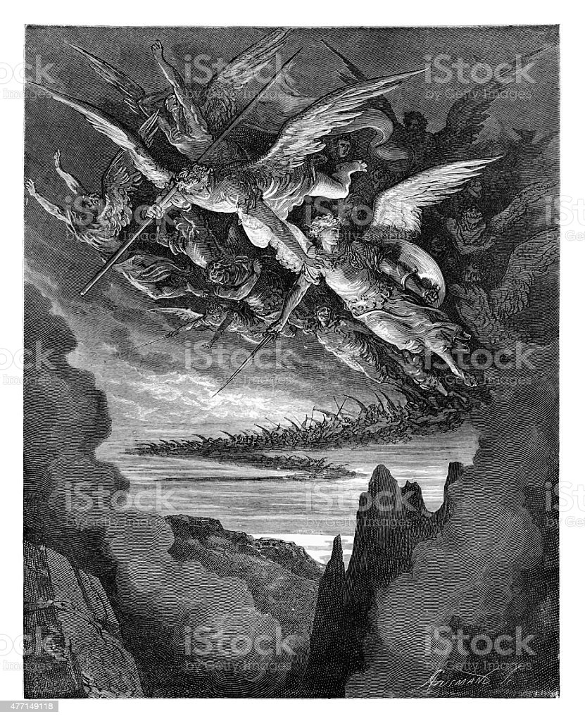 The Fallen Angels engraving vector art illustration