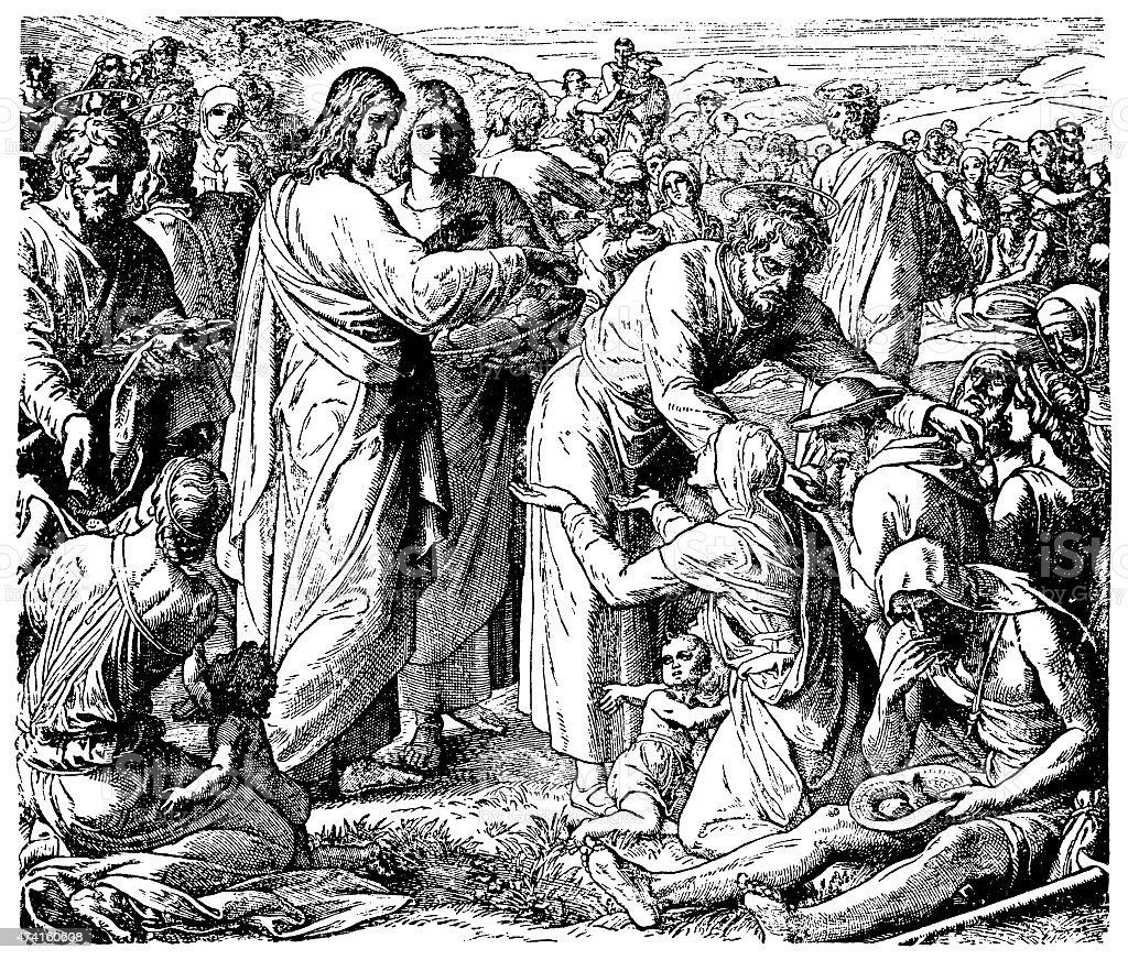 The Feeding of the Five Thousand (Victorian engraving) vector art illustration