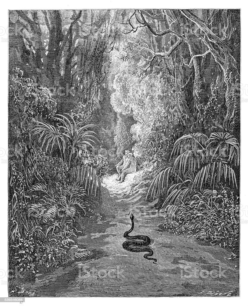 The first approach of the serpent engraving 1885 vector art illustration