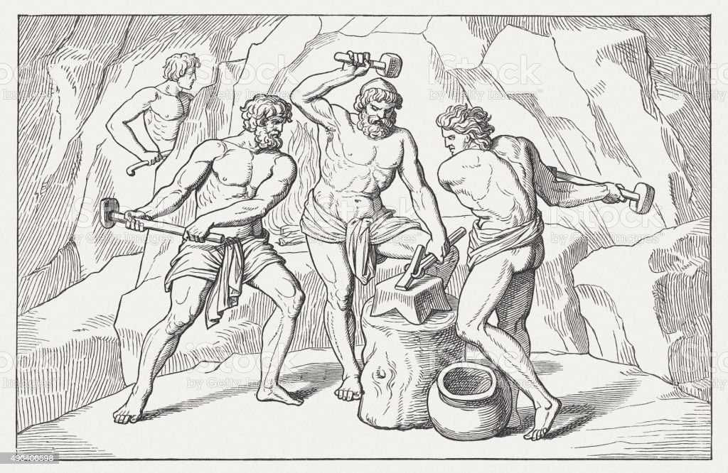 The Forge of Vulcan, Greek mythology, wood engraving, published 1883 vector art illustration