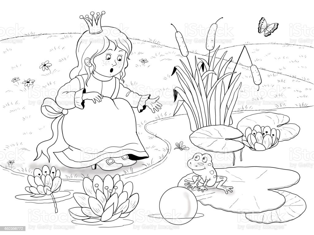the frog prince fairy tale illustration for children coloring page