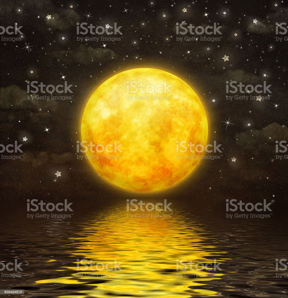 The full moon is reflected in  wavy water vector art illustration