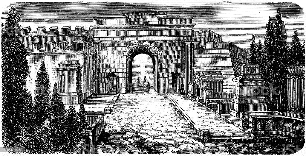 The Gate of Herculaneum and the street of Tombs vector art illustration