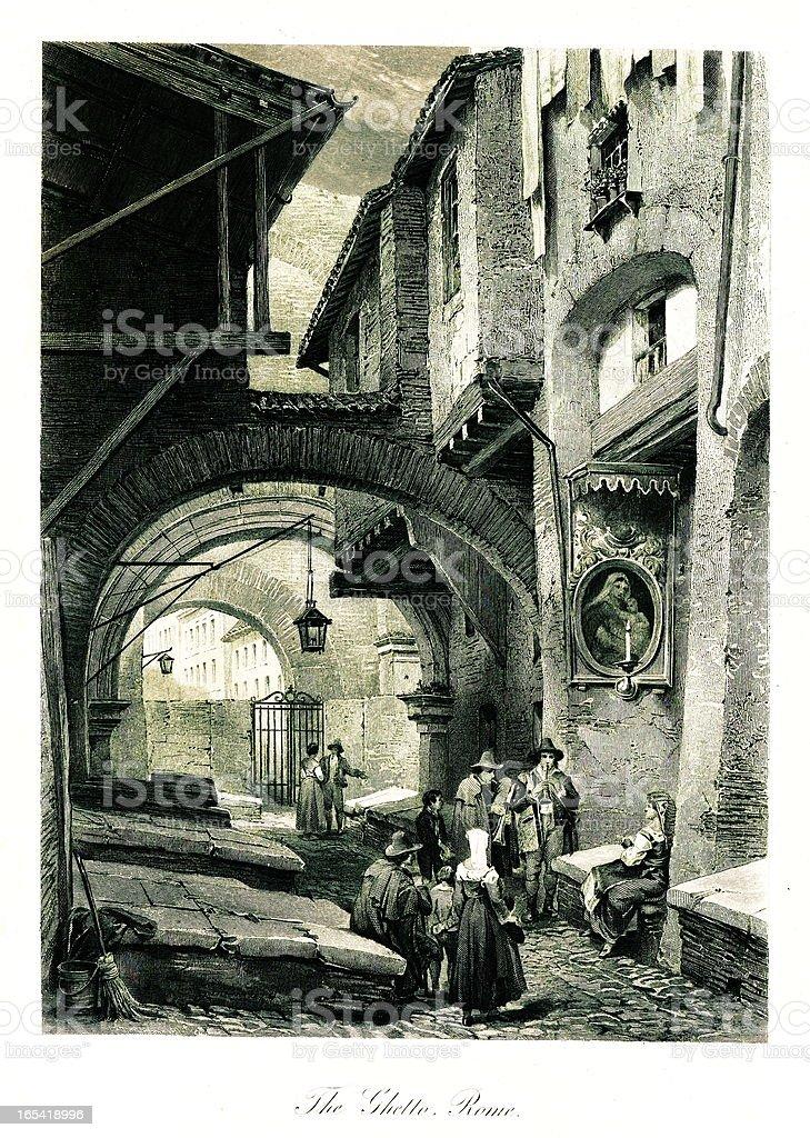 The Ghetto, Rome, Italy royalty-free stock vector art