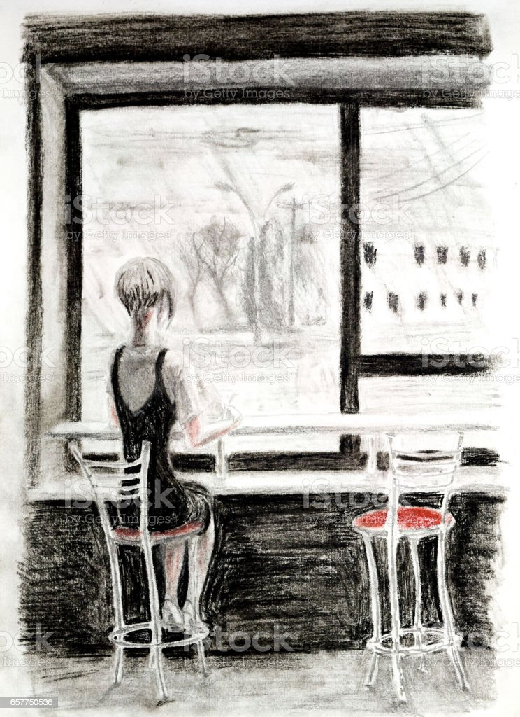 The girl sitting on a chair at a bar counter near a window vector art illustration