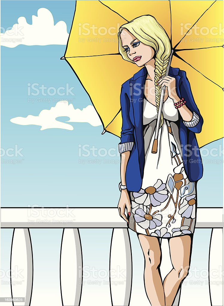 The girl with umbrella royalty-free stock vector art