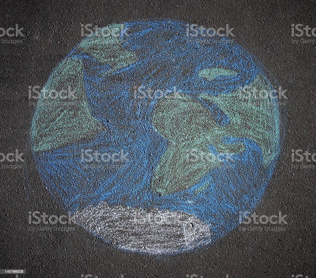 the globe drawn on asphalt with chalk vector art illustration