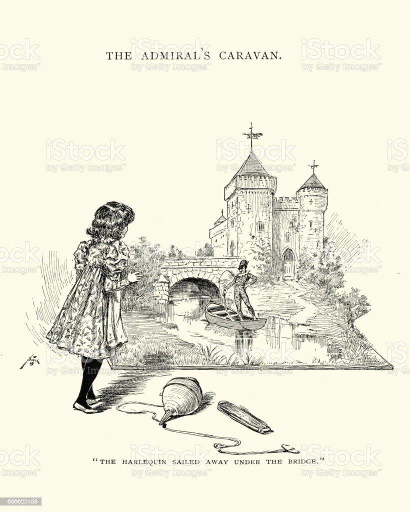 The Harlequin sailed away under the bridge vector art illustration