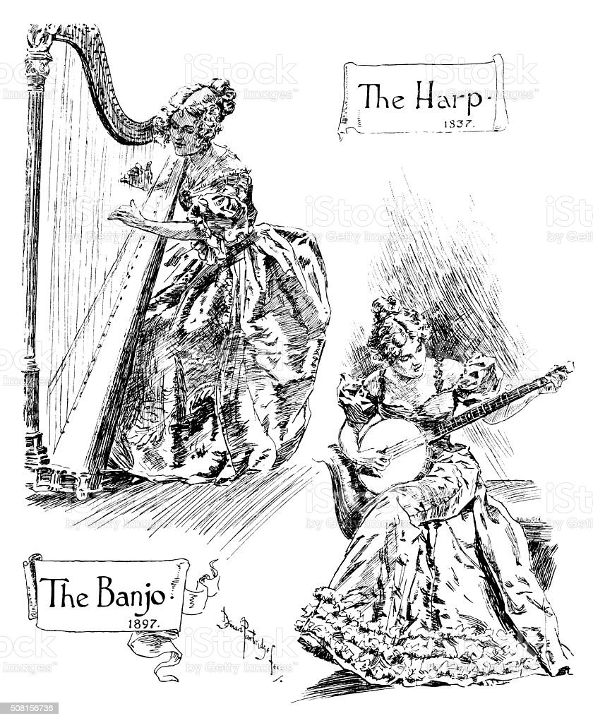 The Harpist 1837 and the Banjo Player 1897 vector art illustration