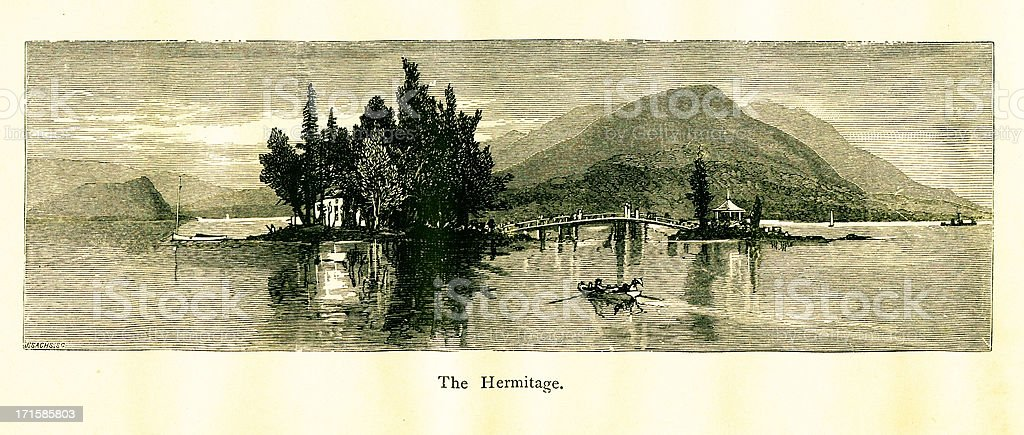 The Hermitage, Lake George, New York royalty-free stock vector art