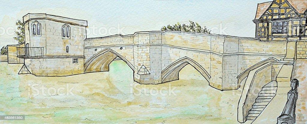 The historic packhorse bridge at St Ives vector art illustration
