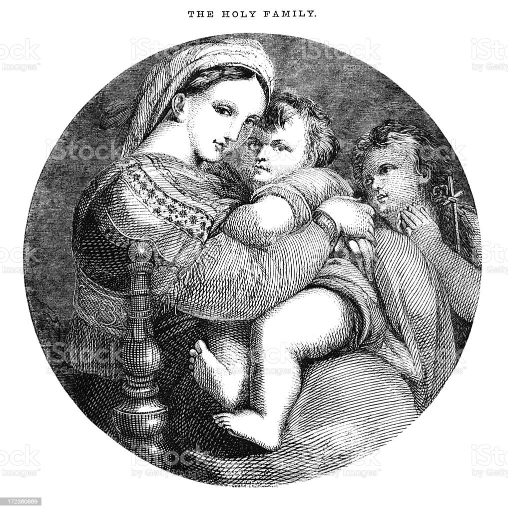 The Holy Family (Victorian woodcut) royalty-free stock vector art