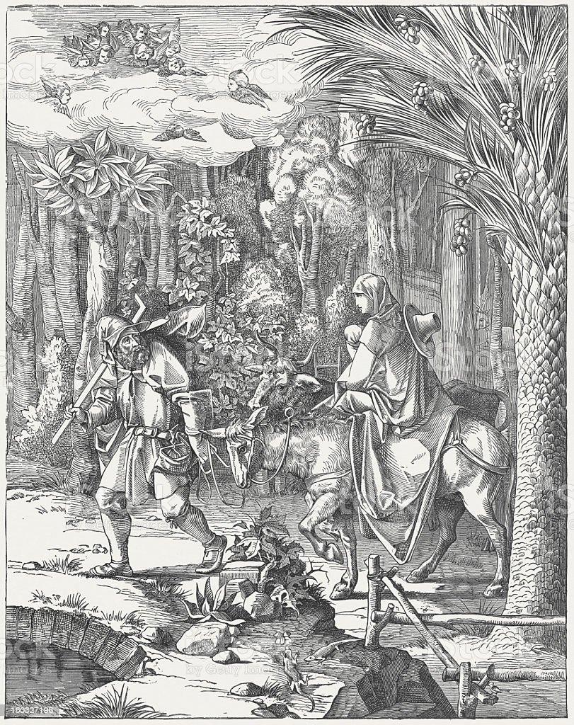 The Holy Family on the Flight into Egypt, by Albrecht Dürer vector art illustration