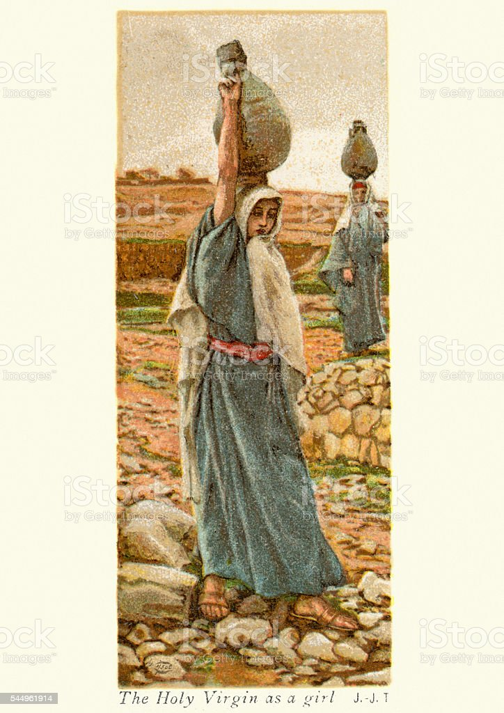 The Holy Virgin as a girl vector art illustration