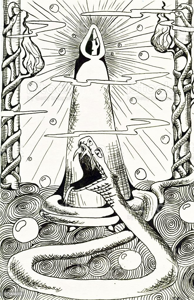 The hooded man in Snake Chamber vector art illustration