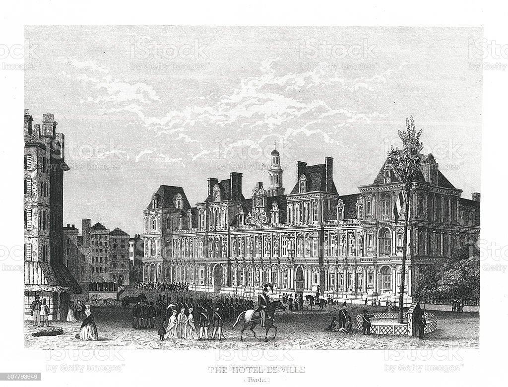 The Hotel de Ville, Paris (antique engraving) vector art illustration