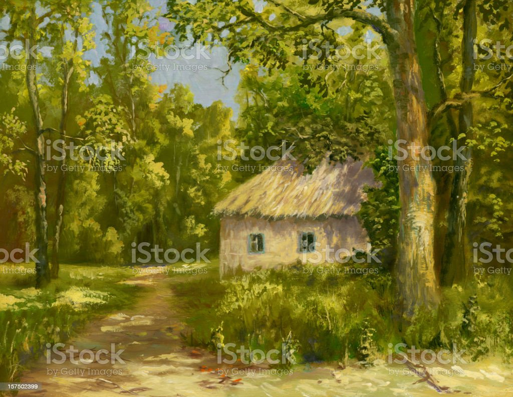 The house at a road vector art illustration
