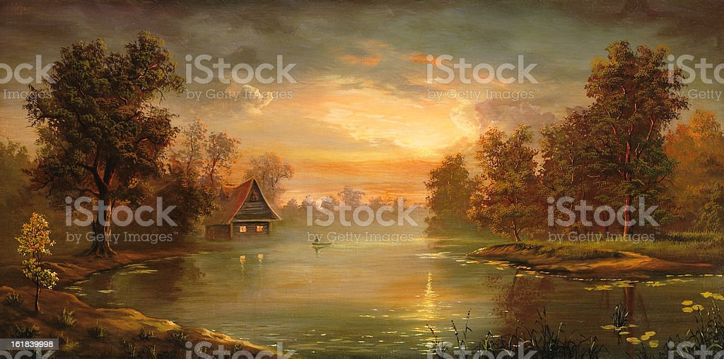 The house at water vector art illustration