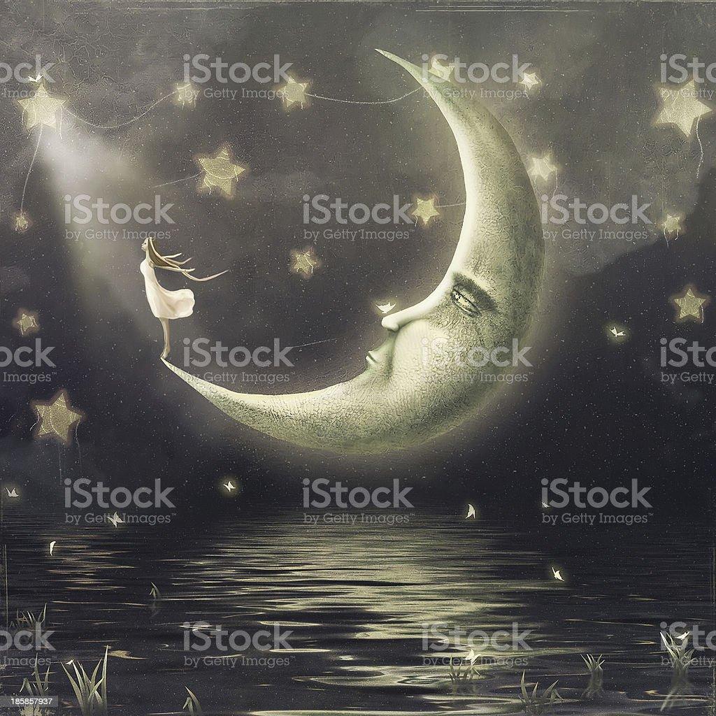 The illustration shows  girl who admires  star sky vector art illustration