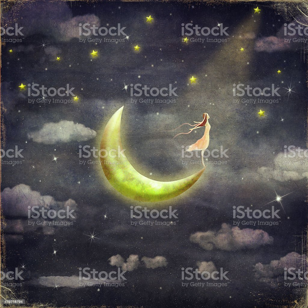 The illustration shows the girl who admires the star sky vector art illustration