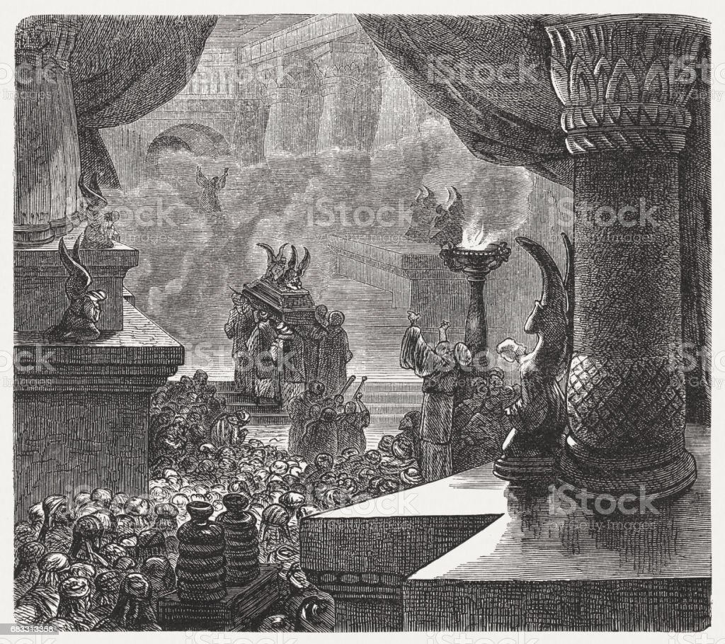 The Inauguration of the Solomonic Temple, wood engraving, published 1880 vector art illustration