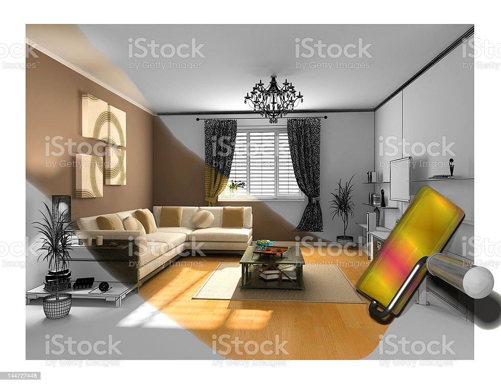 the interior painting vector art illustration