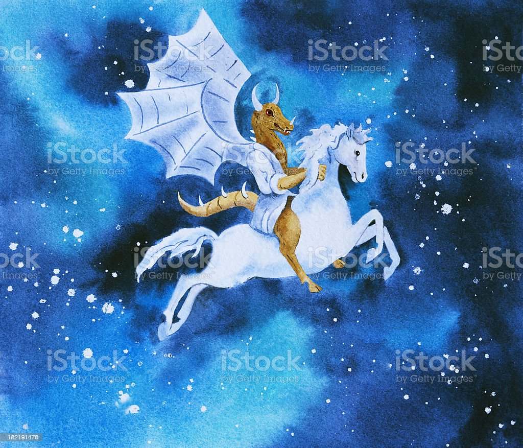 The Jersey Devil Riding A White Horse vector art illustration