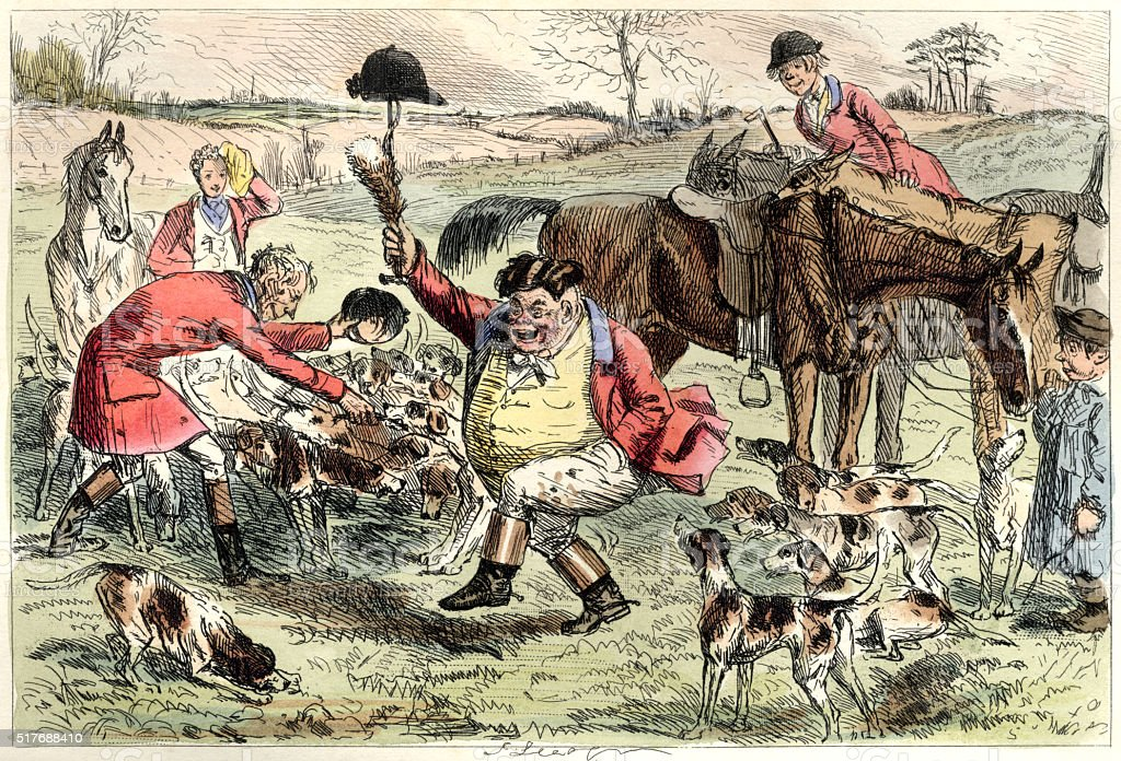 The kill at a Victorian fox hunt vector art illustration