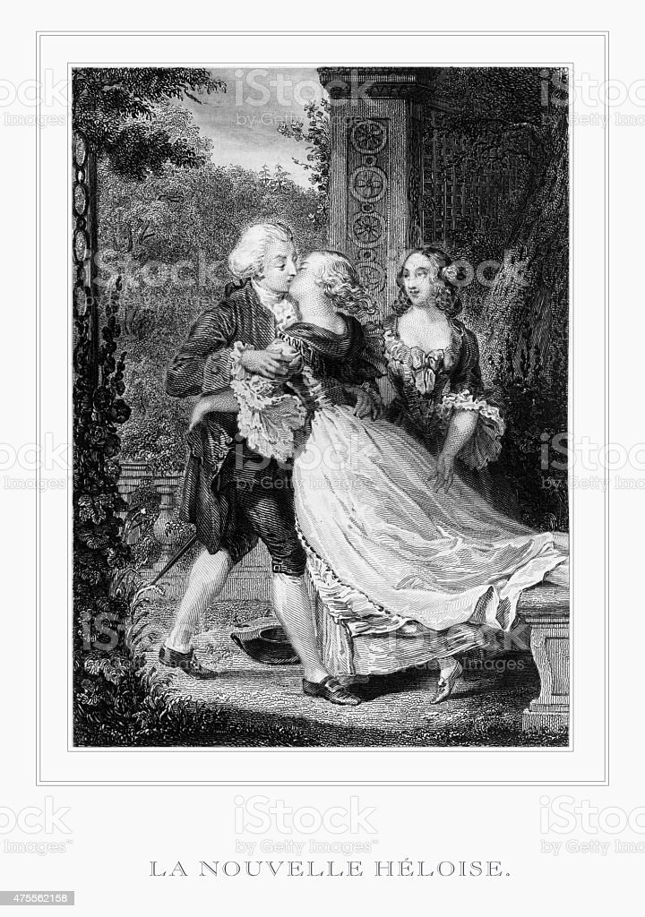 The Kiss of La Nouvelle Heloise (The New Heloise) Engraving vector art illustration