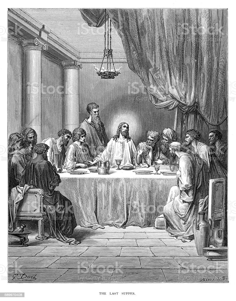 The last supper engraving 1870 vector art illustration