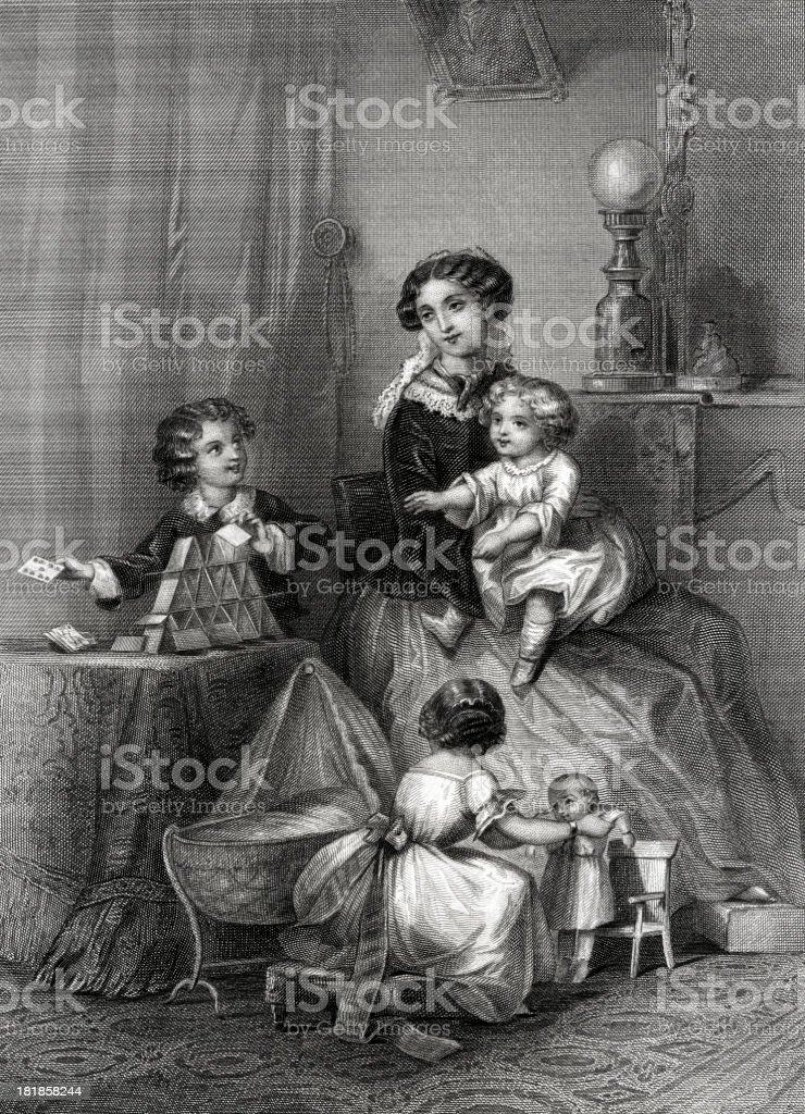The Light of home,19th century. vector art illustration