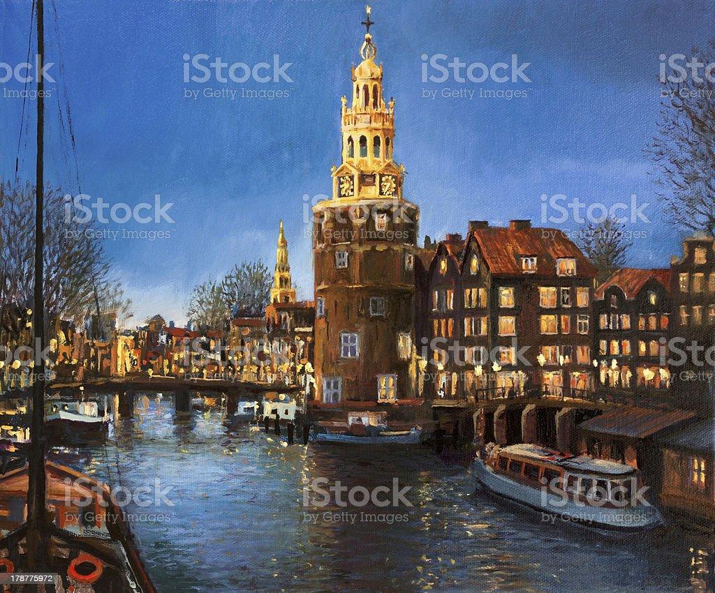 The Lights of Amsterdam vector art illustration