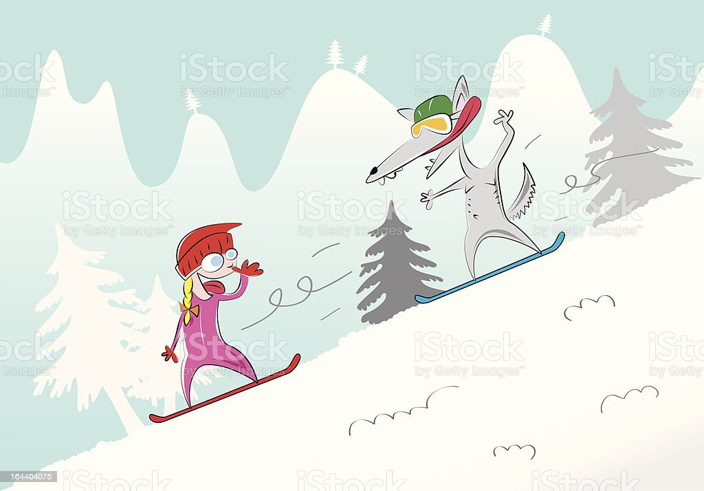 The Little Red Riding-hood (winter version) vector art illustration