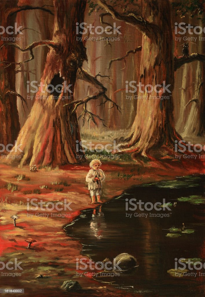 The lonely kid in a wood royalty-free stock vector art