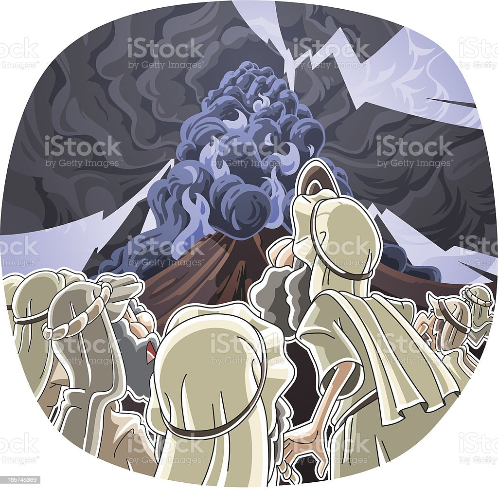 The LORD descended on Mount Sinai vector art illustration