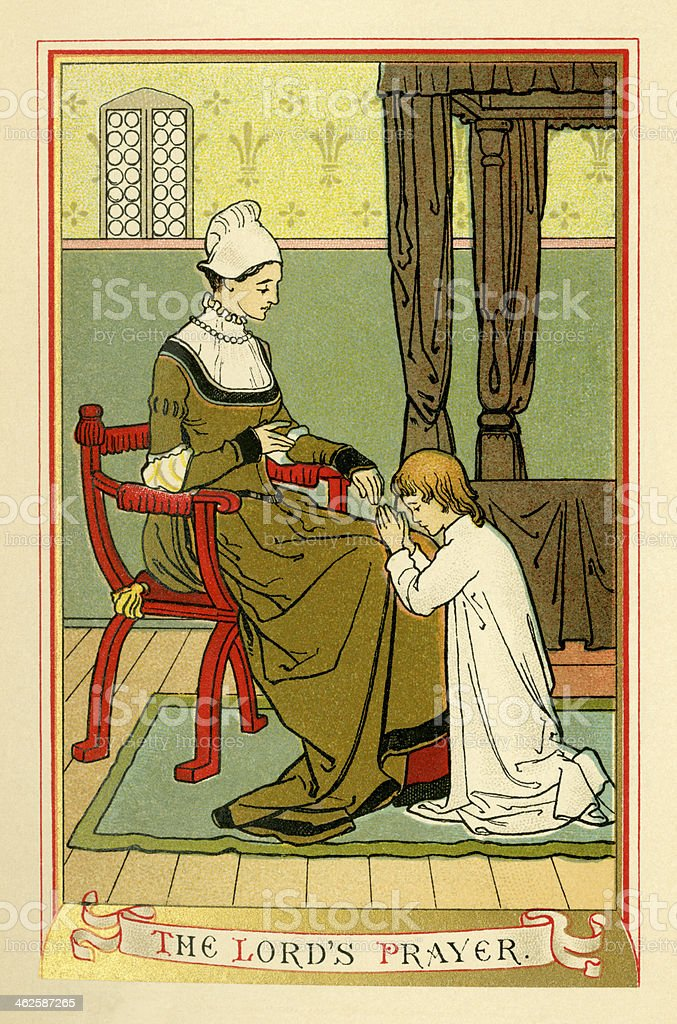 The Lord's Prayer (Victorian religious book plate) vector art illustration