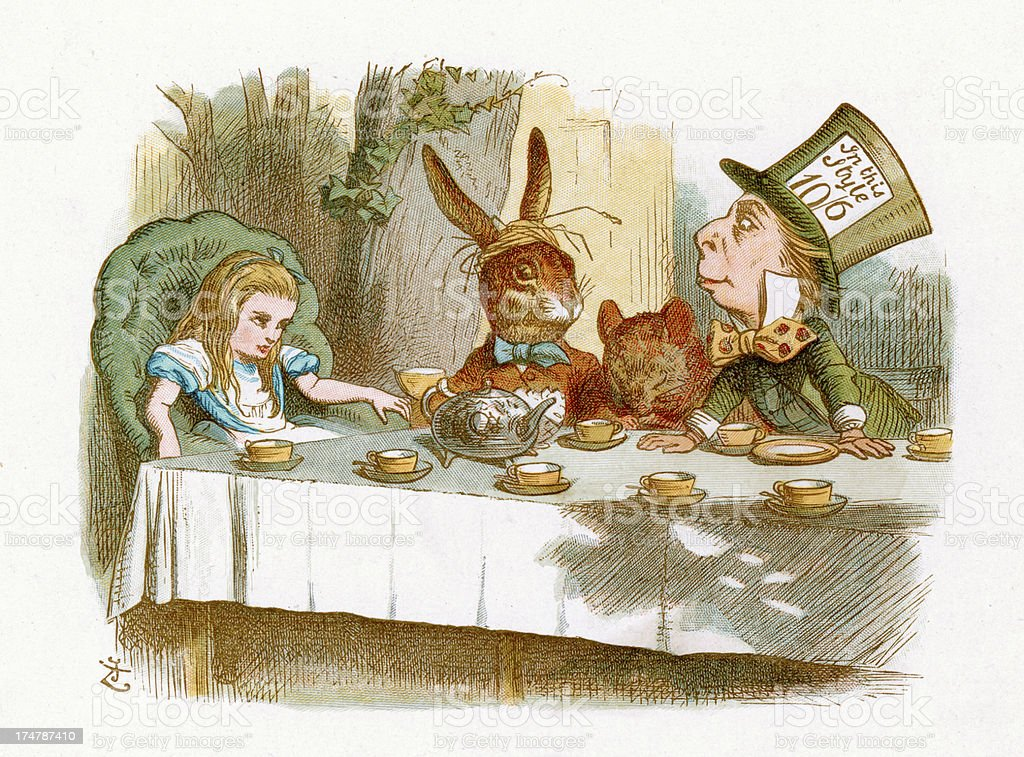 The Mad Hatter's Tea Party royalty-free stock vector art