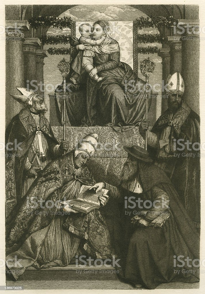 The madonna and four saints royalty-free stock vector art