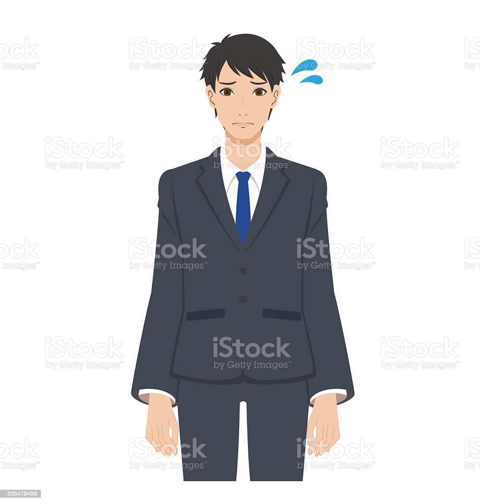 The man is suffering. vector art illustration
